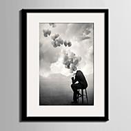 Pessoas / Fantasia Quadros Emoldurados / Conjunto Emoldurado Wall Art,PVC Preto Cartolina de Passepartout Incluída com frame Wall Art