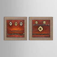 Pintados à mão Abstracto / Fantasia Pinturas a óleo,Modern / Realismo / Mediterrêneo / Estilo Europeu 2 Painéis TelaHang-painted pintura