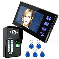 Tecla de toque do ennio reconhecimento de impressão digital de 7 lcd porta-voz porta-voz sistema de interfone ir camera hd 1000 tvline
