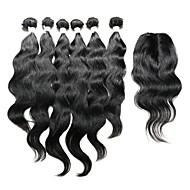 Trama do cabelo com Encerramento Cabelo Indiano Ondulado Natural 12 meses 7 Peças tece cabelo