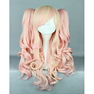 Γυναικείο Συνθετικές Περούκες Χωρίς κάλυμμα Μακρύ Κυματιστά Ροζ Μαλλιά μπαλαγιάζ Με αλογοουρά Με αφέλειες Περούκα άνιμε Lolita Wig