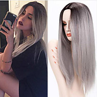 Ombre Grey Wig Female Wig Synthetic Wigs Long Straight Hair Heat Resistant Synthetic Wigs