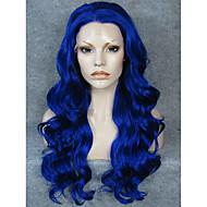 Žene Sintetičke perike Lace Front Dug Valovita Plava Prirodna linija za kosu Srednji dio Cosplay perika Halloween paru Karnevalska perika