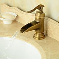 kylpyhuoneen pesuallas hana vintage tyyliin antiikki messinki viimeistely pitkä kylpyhuoneen pesuallas hana