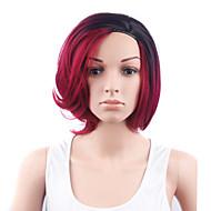 Naisten Synteettiset peruukit Suojuksettomat Lyhyt Laineikas Musta/Punainen Liukuvärjätyt hiukset Tummat juuret Sivuosa Bob-leikkaus