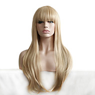Naisten Synteettiset peruukit Suojuksettomat Pitkä Laineikas Vaaleahiuksisuus Otsatukalla Luonnollinen peruukki Halloween Peruukki