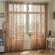 One Panel Window Hoito Eurooppalainen , Lehti Living Room Polyester/puuvillaseos materiaali Läpinäkyvät verhot Shades Kodinsisustus For