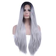 Naisten Synteettiset peruukit Lace Front Pitkä Suora Musta/Valkoinen Keskijakaus Luonnollinen hiusviiva Liukuvärjätyt hiukset Tummat