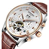 KINYUED Pánské Hodinky k šatům Hodinky s lebkou Náramkové hodinky mechanické hodinky Automatické natahování Kalendář Chronograf Voděodolné