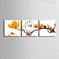 Moderni/nykyaikainen Muuta Seinäkello,Neliö Kanvas40 x 40cm(16inchx16inch)x3pcs/ 50 x 50cm(20inchx20inch)x3pcs/ 60 x