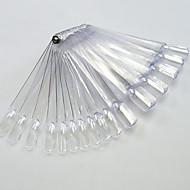 1set 50tips gjennomsiktig / natrual nail art fan bord med metall spiker manikyr verktøy nail art falske tips for uv polsk dekorasjon