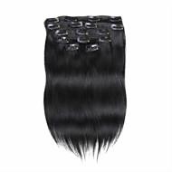 7pcs / set 18inch clip ihmisen hiusten pidennykset 85g puhdasta väriä suorat hiukset