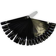 1set 24tips svart / natrual nail art fan bord manikyr verktøy med plasthåndtak spiker falske tips for uv polsk dekorasjon tilfeldig