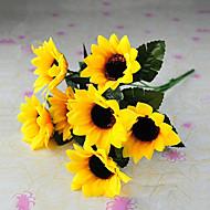 6 głowic stylu wiejskiej słoneczniki symulacji tkaniny jedwabne żółte