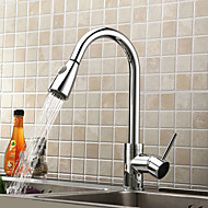 Contemporary Art Deco/Retro Modern Pull-out/­Pull-down Standard Spout Tall/­High Arc Centerset Rain Shower Pullout Spray Thermostaticwith