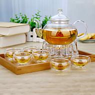 8 terno de bule de chá conjunto entretenimento vidro familiar atmosférica