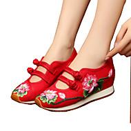 Feminino Oxfords Conforto Inovador Sapatos bordados Lona Primavera Verão Outono Inverno Atlético Casual CaminhadaConforto Inovador