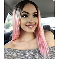 Naisten Synteettiset peruukit Lace Front Keskikokoinen Luonnolliset aaltoilevat Pinkki Luonnollinen hiusviiva Afro-amerikkalainen