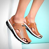 Sandaler-Kunstlæder-Komfort Mokkasin Lysende såler Hole sko-Herrer-Sort Kaffe Brun-Udendørs Fritid-Flad hæl