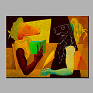 Pintados à mão Abstrato Desenho Animado Horizontal,Moderno 1 Painel Tela Pintura a Óleo For Decoração para casa