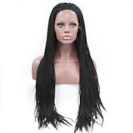 Naisten Synteettiset peruukit Lace Front Pitkä Suora Musta Luonnollinen hiusviiva Letitetty peruukki Afrikkalaiset letit