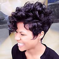 Mulher Perucas de cabelo capless do cabelo humano Preto Marrom Branco Curto Enrolado Corte Pixie Corte em Camadas Com Franjas Peruca Afro