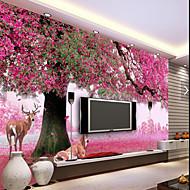 Virágos Fák / levelek Wallpaper Otthoni Ország Falburkolat , Vászon Anyag ragasztószükséglet tapéta , szoba Falburkoló