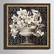 Landschap Bloemenmotief/Botanisch Ingelijst canvas Ingelijste set Muurkunst,PVC Materiaal Gouden Inclusief passepartout Met frame For