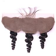 Brasilian neitsyt hiuksista löysä aalto 134 pitsiä edestä sulkeminen vauvan hiukset luonnon musta 8 -18inch jalostamattomia hiuksista
