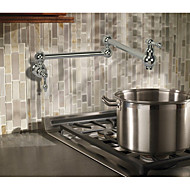 Contemporary Art Deco/Retro Modern Pot Filler Centerset Widespread Rotatable with  Ceramic Valve Two Handles One Hole for  Chrome ,