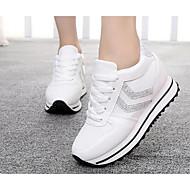 Damen Sneaker PU Frühling Weiß Schwarz Silber Flach