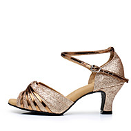 Dames Latin Glitter Pailletten Synthetisch Sandalen Hakken Sneakers Binnenshuis Ruches Gesp Gerimpeld Glitter Cuba-hakKameel Zilver