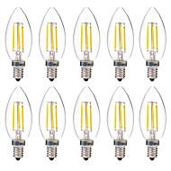 10 pcs BRELONG  4W E14 4COB LED Filament Bulbs White / Warm White AC220-240V