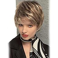 Mulher Perucas de cabelo capless do cabelo humano Castanha Brown / Bleach Loiro Curto Liso Corte Pixie Corte em Camadas Com Franjas
