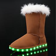 女の子 ブーツ スノーブーツ ライトアップシューズ ヌバックレザー 冬 カジュアル ドレスシューズ フラットヒール ブラック グレー Brown ピンク フラット