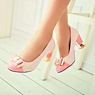 נשים נעליים עור פטנט קיץ בלרינה בייסיק עקבים עקב עבה בוהן עגולה עם עבור קזו'אל שחור ירוק ורוד