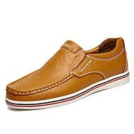 Masculino sapatos Pele Verão Outono Conforto Mocassins e Slip-Ons Combinação Para Casual Preto Azul Escuro Marron