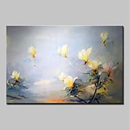 Ručno oslikana Cvjetni / Botanički Horizontalan,Sažetak Moderna Jedna ploha Platno Hang oslikana uljanim bojama For Početna Dekoracija