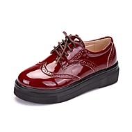 Ženske Oksfordice svečane cipele Proljeće Jesen Lakirana koža Kauzalni Vezanje Puna potpetica Crn Crvena 2.5 cm - 4.5 cm