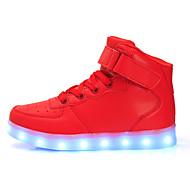 Unisex Schuhe Gummi Kunstleder Frühling Sommer Leuchtende LED-Schuhe Sneakers Flacher Absatz Runde Zehe LED Für Hochzeit Normal Kleid