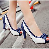 レディース 靴 PUレザー 春 夏 コンフォートシューズ ヒール とともに 用途 カジュアル ホワイト ベージュ ブルー ピンク