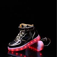 Para Meninas Tênis Conforto Solados com Luzes Tênis com LED Micofibra Sintética PU Outono Inverno Casual Cadarço Velcro RasteiroDourado