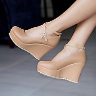 Ženske Cipele PU Proljeće Ljeto Udobne cipele Cipele na petu Puna potpetica Okrugli Toe S Za Kauzalni Crn Pink Badem