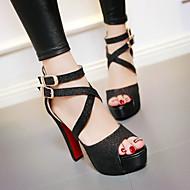 Femme Chaussures Polyuréthane Eté Automne Confort Sandales Gros Talon Bout ouvert Avec Pour Décontracté Or Noir Argent