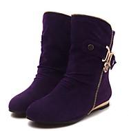 Feminino Sapatos Flanelado Inverno Botas da Moda Botas Rasteiro Botas Curtas / Ankle Com Para Casual Preto Roxo Amarelo Verde
