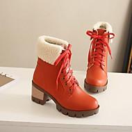 Feminino Sapatos Couro Ecológico Inverno Conforto Botas Salto Grosso Ponta Redonda Com Para Casual Preto Laranja Verde