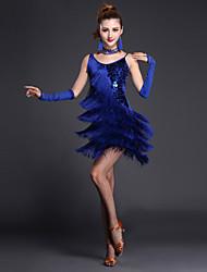 Latin tánc Ruhák Női Teljesítmény Poliészter Lycra Hasított első Szintek 4 darab Ujjatlan Rövid ujjú Magas Szexi lányRuha Kesztyűk