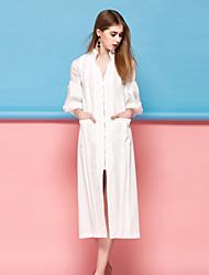 Dámské Jednoduché Běžné/Denní Shift Šaty Jednobarevné,Tříčtvrteční rukáv Do V Midi Růžová Bílá Polyester Jaro Léto Mid RiseLehce