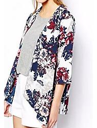 Damen Blumen Einfach Lässig/Alltäglich Jacke,Rundhalsausschnitt Sommer Herbst ½ Länge Ärmel Standard Baumwolle