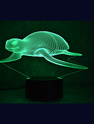 Kerst zeeschildpadden aanraken verduistering 3d led nachtlicht 7colorful decoratie atmosfeer lamp nieuwigheid verlichting kerstlicht
